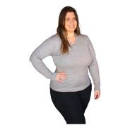 Blusa Plus Size Suéter Feminino Gola V Ou Gola Redonda Trico