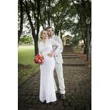 Vestido De Noiva + Bolero + Grinalda + Porta Alianças