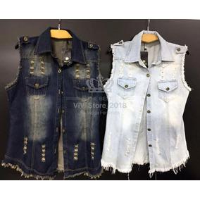 42739feb88 06 Maxi Coletes Camisão Jeans Feminino Atacado Blogueiras