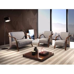 Cadeira, Poltrona Decorativa Braço Madeira, Conjunto 3 Peças