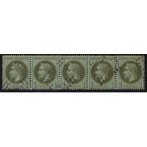 Col 07819 França 25 Napoleão Tira De 5 Selos Muito Rara U