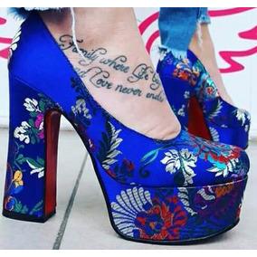 Stilettos De Razo Mujer 2017 Fiesta Bordado Taco Palo 13025