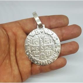 Pingente Medalha São Bento De Prata Maciça Grande Gigante