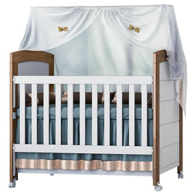 Berço Americano Cléo Branco Amadeirado - Carolina Baby