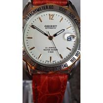 Relógio Orient Automático Mostrador Branco Data Com Lupa