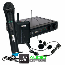 Microfono Inalambrico Skp Uhf 271 Doble Corbatero Y Vincha