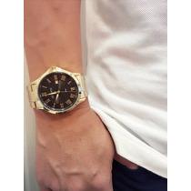 Relógio Masculino Social Atlantis Dourado Com Calendário