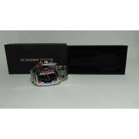 Relógio De Pulso Calendário Aço Inoxidável Banda Luxo Prata