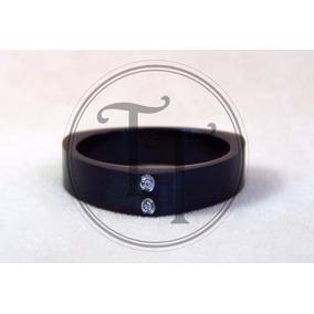 Anillo Para Hombre Titanio Negro 18k Zirconia Corte Diamante