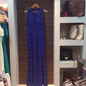 Vestido Longo Azul Royal Madrinha Formanda Renda Tamanho M G