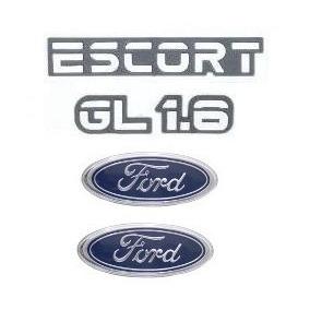 Kit Emblemas Escort Gl 1.6 - Até 1992 - Modelo Original