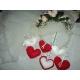 Chaveiro Corações Em Feltro, Kit Com 100 Unid