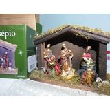 Presépio De Natal Em Resina E Madeira 8 Pçs