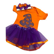Fantasia Halloween Bebê Body Abóbora Bruxa Tutu E Laço Kit
