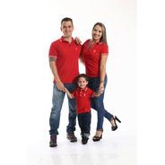 Pais E Filhos  Kit 3 Peças Camisas Ou Body Polo Vermelho