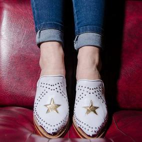 Zuecos Texanas Zapato Slipper Mod.gucci Estrella Cuero Vacun