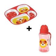 Kit Refeição Alimentação Prato Divisória + Garrafa Squeeze