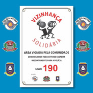 Placa Conseg E Pm - Vizinhança Solidária - Pvc 1mm - 20x30cm