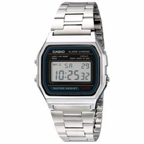 Reloj Casio Digital Retro Acero Alarma Crono Mod A-158wa-1q