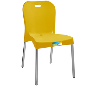 Cadeira Plástica Com Pés De Alumínio Sem Braço Paramount