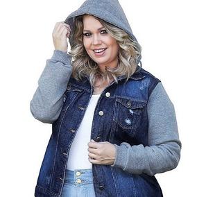 Jaqueta Moletom Jeans Feminina Plus Size Duas F.gratis