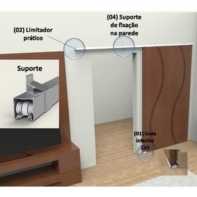 Kit Porta Correr Suspenso C/ Fixação Na Parede Completo 2r