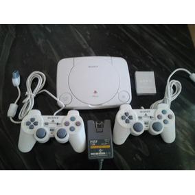 Playstation 1 Com 2 Controles, 5 Jogos. Foto Ilustrativa.
