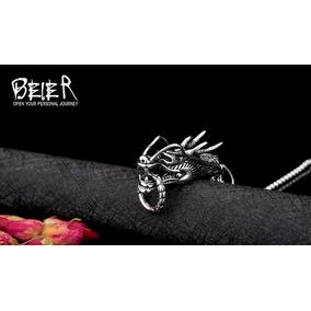 Pingente Dragão Aço Colar Talismã Amuleto Corrente Dragon