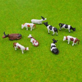 10 Pç Vaca Miniatura Mini Jardim Maquete Terrário Ho 1:87