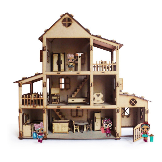 Casita De Mu?ecas  Casa Fibrofacil + 36 Muebles Oferta !!