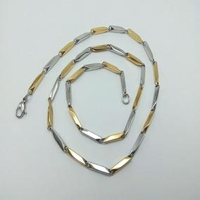 Collar De Oro 18k Lam. Combinado Con Plata. Para Caballero.