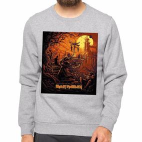 Blusa Moleton Gola Careca Iron Maiden Hallowee Banda Rock