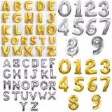 Balão Números E Letras Dourado E Prata 40cm Seguro E Brinde