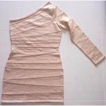 Vestido Bandagem Dourada Um Ombro Só
