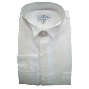 Camisa Blanca De Vestir Con Cuello De Paloma Hombre M / L