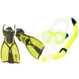 Conjunto Kids Máscara Snorkel Nadadeira - Seasub - Amarela -