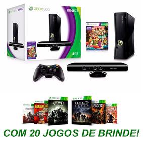 Xbox 360 Slim De 4gb + Kinect + 20 Jogos Em Até 12x S/juros