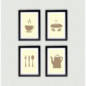 Kit Quatro Quadros Decorativos Cozinha + Moldura Laqueada