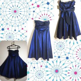 Vestido De Festa Midi, Tomara Que Caia, Azul Com Echarpe.