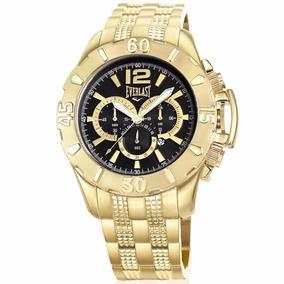 Relógio Everlast Masculino Dourado Analógico E565