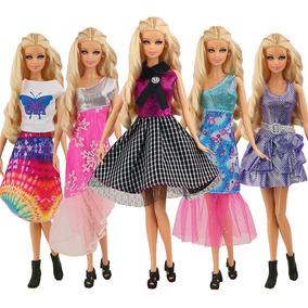 Barbie Muñeca Fashionista Vestidos Cortos Casuales 5 Pza