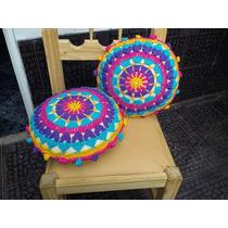 Almohadon Redondo Al Crochet - Tejidos Artesanales