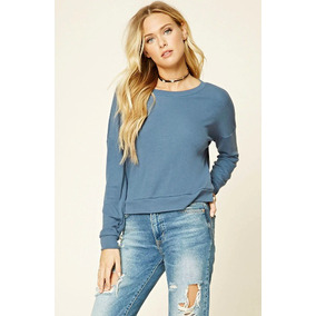 Forever 21 Sweater Sudadera Ancha Azul Stretch M-l