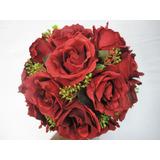 Buque Noiva Rosa Vermelha Marsala Artificial Frete Grátis