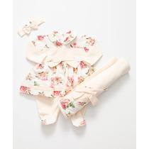 Kit Saída De Maternidade Floral Off White - Bebê Menina