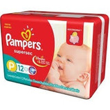 Pañales Pampers Supersec P X 12 Unidades