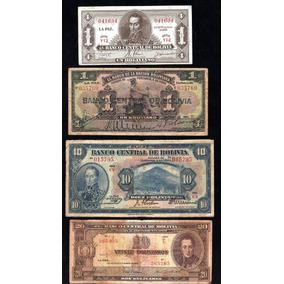 Bolivia Lote 4 Billetes Bolivianos Años 1911, 1928 Y 1945