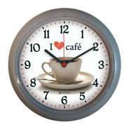 Relógio De Parede Eurora Cozinha Café Cinza 6586
