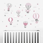 Adesivos Parede Infantil Animais Balões Balão Nuvens Safari