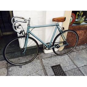 Antigua Bicicleta De Carrera Italiana Con Asiento De Cuero
